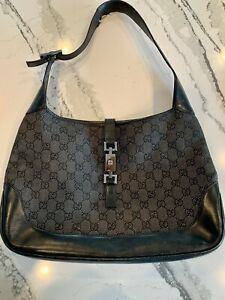 Authentic GUCCI Vintage Jackie O Canvas/Leather Handbag- Black/Gray, Pre Owned