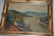 Ölbild Gemälde Landschaft mit Fluss Signiert Toni Wolter (1875-1929) Antik