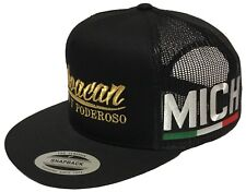 MICHOACAN FUERTE Y PODEROSO MEXICO HAT 2 LOGOS [MICH] BLACK MESH TRUCKER