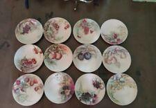 Set of 12 Antique Hand Painted JP Limoges France Fruit Plates Beautiful Colors