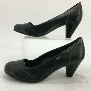 Esprit Pump Heels Womens 41 Black Leather Slip On Casual Comfort Shoes Round Toe