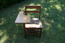 Antique Oak Wooden School Desk And Attached Chair Marked S.B.V.U.J.C Equipment