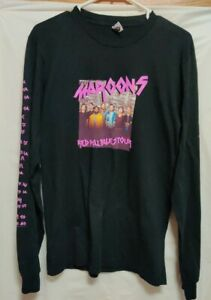 Maroon 5 Red Pill Blues Tour Concert Long Sleeve Graphic Tee Black Sz M
