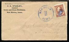 VAN HORN IOWA 1885 SAW-TOOTH CANCEL on COVER TO FARMINGTON, MAINE