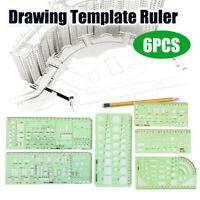 6x Circles Squares Geometric Formwork Drawing Templates Ruler Stencil  @ P