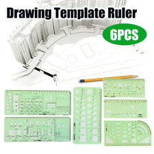6x Circles Squares Geometric Formwork Drawing Templates Ruler Stencil  @ P □□