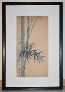 Listed Japanese Artist KOSON OHARA, Original  Color Woodblock Print Sparrows