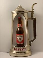 VTG Drewrys Brewery Advertising Beer Sign. Stein & Bottle.South Bend Indiana NR