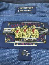 Ralph Lauren Boy Scout Label Button Down 100% Cotton Men's Shirt 17.5  34-35