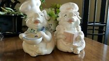 Fitz & Floyd Pig Chefs/Cooks Male & Female Bookends Vintage Hand Painted Japan