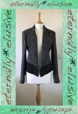 BEN DE LISI PRINCIPLES Silver Lurex Tweed Black Blazer Jacket Coat Size 16 BNWT