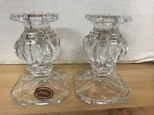"""GORHAM Crystal BAROQUE  Set of 2/Pair Taper Candle Holders CANDLESTICKS 4"""""""