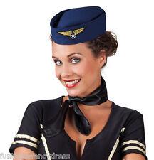 Mini Ladies Navy Air Hostess Air Stewardess Pill Box Hat With Badge Fancy Dress