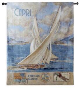 41x52 CAPRI Sailboat Ocean Nautical Tapestry Wall Hanging