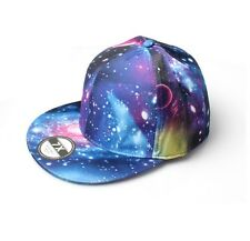 Galaxy Star Solar Print Blue & Purple All Over Hipster Snapback Flat Peak Cap Ha