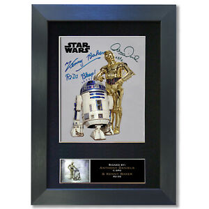 R2D2 CP30 Daniels & Baker Signed Mounted Reproduction Autograph Photo Print 844