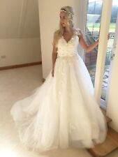 Ivory Custom Made Princess Wedding Dress 3D Flowers Crystal Bodice Approx Size10