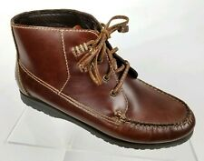 GH Bass Womens Ankle Hiking Boots Brown Leather Vibram Soles Moc Toe Size 7 M