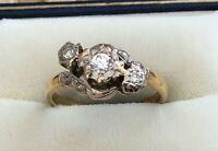 Stunning Ladies High Quality Vintage 18ct Gold & Platinum 3 Stone Diamond Ring