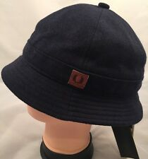 Fred Perry Knitted Jersey Bucket Hat Medium Size Navy