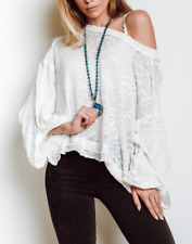 FREE PEOPLE WHITE COTTON ISLAND GIRL OVERSIZED HACCI KNIT TOP Sz L