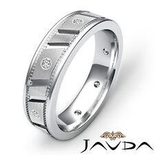 Diamond Mens Eternity Wedding Band Platinum Center Matt Finish Solid Ring 0.25Ct