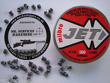 Tin of 500 X MILBRO JET .22 - 5.5mm TWIN RINGED POINTED AIR RIFLE PELLETS