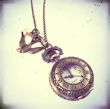 Bronze Hirondelle Montre De Poche Horloge Collier- Vintage Or