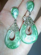 Vintage Art Nouveau Style Metallic Green Oil Paint Effect Tear Drop Earrings