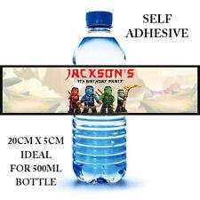 NINJAGO LEGO PERSONALISED SELF ADHESIVE WATER BOTTLE LABEL BIRTHDAY PARTY X 6
