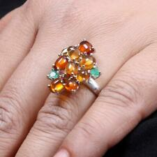 925 Sterling Silver Natural Golden Citrine,Emerald Cut Gemstone Ring Size O 1/2