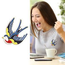 Broche Dorado Pequeño Pájaro Esmalte Multicolor Azul Negro Rojo Amarillo Clase
