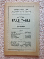 Portsmouth Area Joint Transport Services: Official Fare Table 5th December 1965