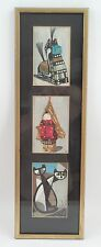 Framed Mid Century Tomoo Inagaki Japanese Woodblock Prints 2 Cats Uma Horse Boy