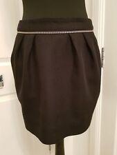 WHISTLES Slightly Gathered Black Mini Skirt Exposed Silver-tone Zip at Back UK12