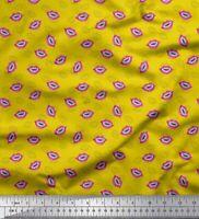 Soimoi Yellow Cotton Poplin Fabric Monster Lips & Teeth Face Printed-fXI