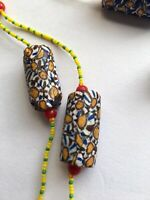 VENETIAN CYLINDRICAL MILLEFIORI GLASS TRADE BEADS MORETTI NECKLACE
