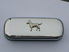English Bull Terrier dog brand new chrome glasses case make a great gift Xmas