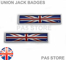 2x Union Jack Chrome Wing Badges Car Van GB Bike Ford Mini Vauxhall TVR Jaguar
