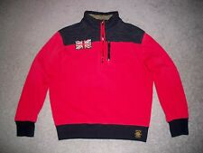 Mens NWOT POLO RUGBY 1/4 Zip Great Britain Moto Racing Pullover L RED & BLACK