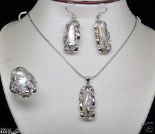 Fashion Jewelry Natural White Biwa Pearl Pendant Earring Ring Set