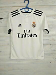 Real Madrid Jersey 2018 2019 Home Boys Kids 9-10 y S Shirt White Adidas CG0554