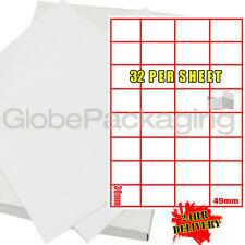 500 Hojas De Impresora De Etiquetas de Laser - 32 por página Hoja