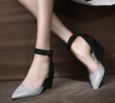 XANGIRL Black White Stripe Pointed Toe  Ankle-Strap Wedge Pumps