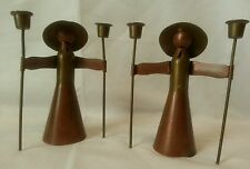 Pair of Copper and Brass Friar Monk Candlestick Holders from Cobre, Mexico