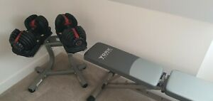 Bowflex SelectTech Adjustable Dumbbells genuine - with stand and bench