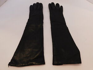 *DESIGNER LADIES BLACK LEATHER WINTER DRESS GLOVES  ACRYLIC KNIT LINING SIZE 6