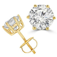 Solitaire 4.00 Ct Round Diamond 18K Yellow Gold 6 Prongs Stud Earrings
