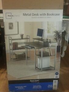metal-desk with bookcase