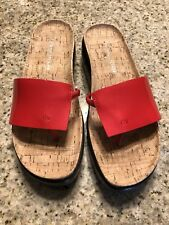 donald j pliner size 6 red patent leather with cork footbed.
